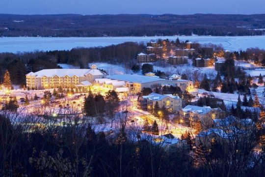 Subject: Travel section, Fare Deals, Deerhurst Resort [twilight - aerial], by Kathryn Folliott for Adam Gutteridge On 2013-10-22, at 7:21 AM, Kathryn Folliott wrote: A pre-holiday season weekend getaway at Deerhurst Resort, taking place Nov. 15 - 17, includes baking workshops and a cooking demonstration with Chef Michael Smith. Credit: Deerhurst, A Skyline Resort  Deerhurst - winter - twilight aerial.jpg